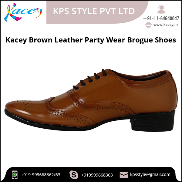 High Quality Brown Leather Party Wear Brogue Formal Shoes