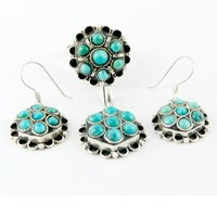 Brand AJ Beauty Flower Design !! Turquoise 925 Sterling Silver Jewellery Set, Antique Silver Jewellery, All Over World Shipping
