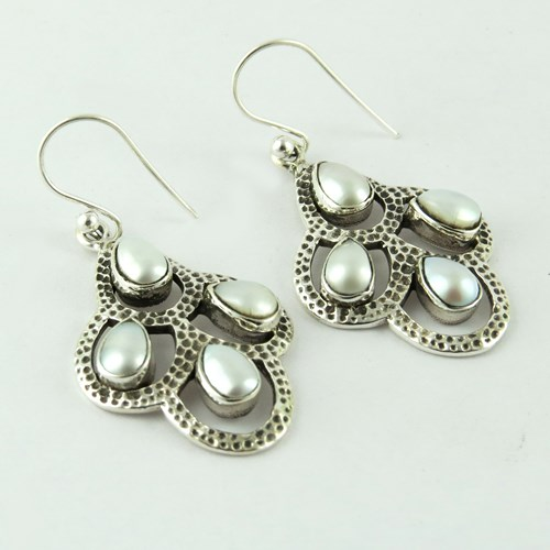 Beautiful Freshwater Pearl Engraved 925 Sterling Silver Earring, Silver Jewelry, Handmade Silver Jewelry