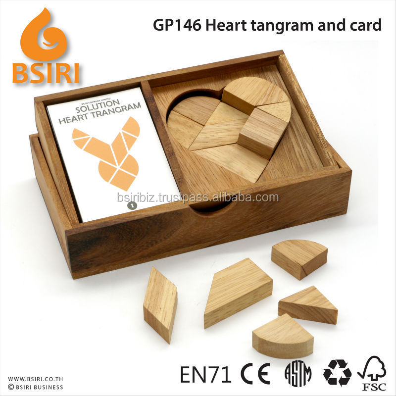 Logic Heart Tangram Set with play Cards Wooden Puzzle Game