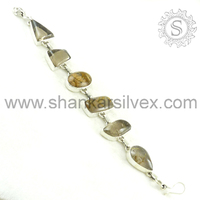 Shankar Silvex !! Picture Jasper, Green Rutile Customized Silver Bracelet, Wholesaler Silver Jewelry BRCB1068-3