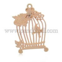 Alloy Big Big Pendants, Bird in Cage, Matte Golden, 61x40x2mm, Hole: 3mm