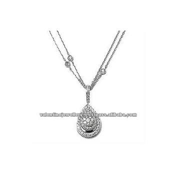 White gold chain diamond pendant
