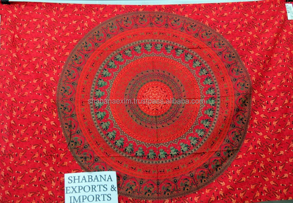 Royal Red Queen Mandala Tapestry Hipie hippy curtains Batik Tapestry Tapestries Manufactured in India