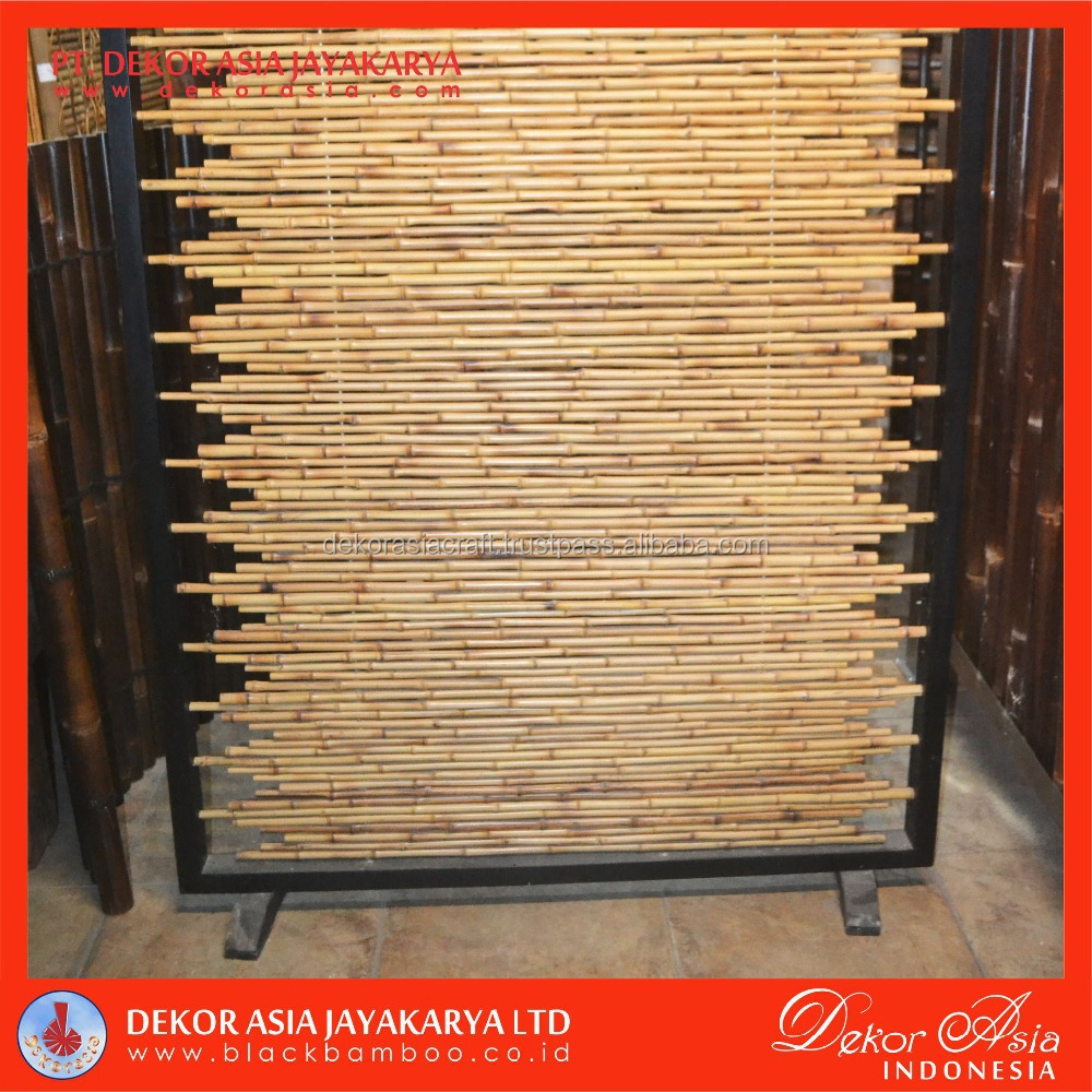 Bamboo Cendani Fence with wooden black frame
