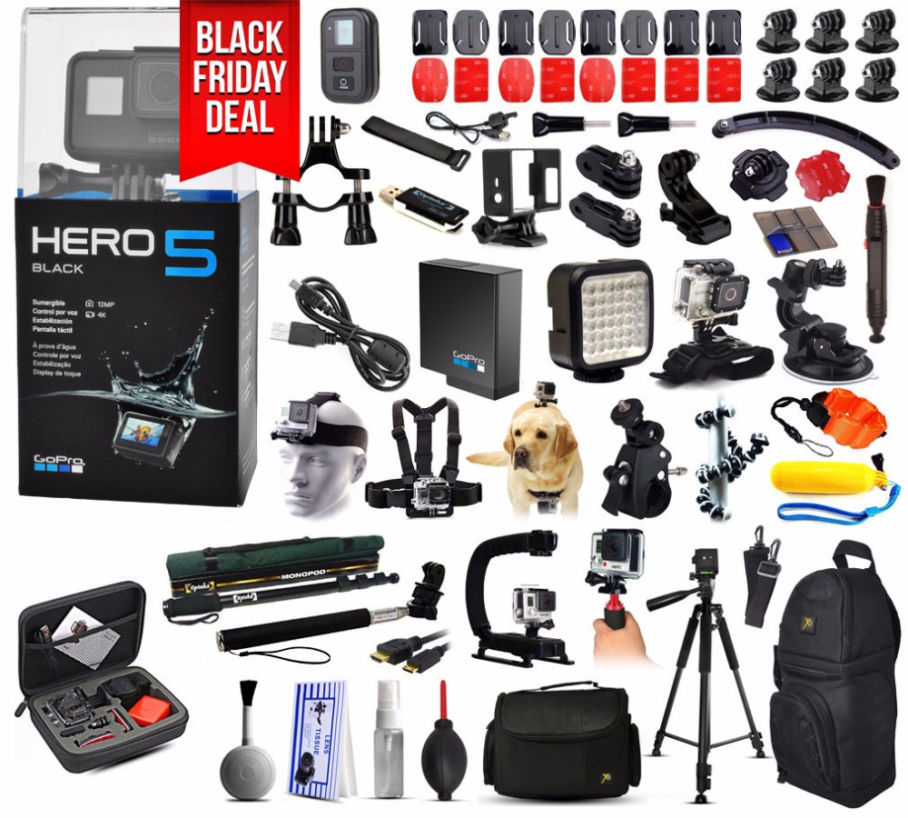 Best Price for GoPro HERO5 Hero 5 HD Black Edition Action Camera + Mega Accessories Bundle