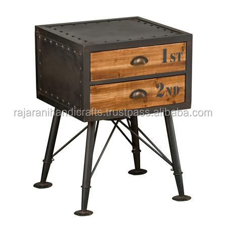 industrial & vintage iron metal night stand with 2 wooden drawers