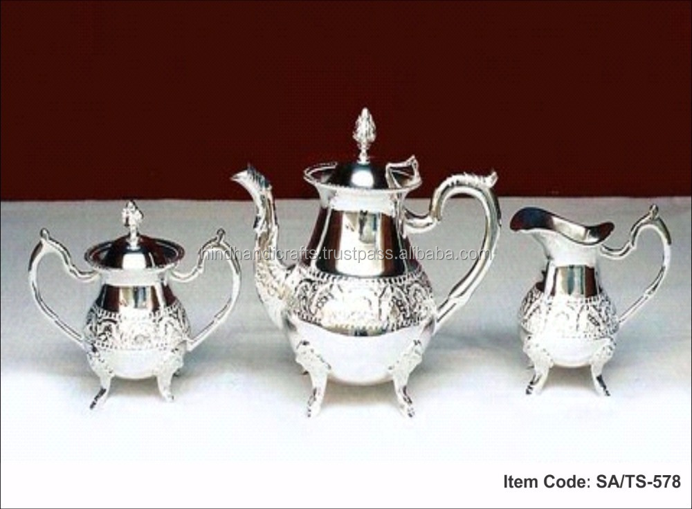 Silver Plated Tea Coffee Set Of Spot Kettle, Milk Pour Mug And Sugar Bowl