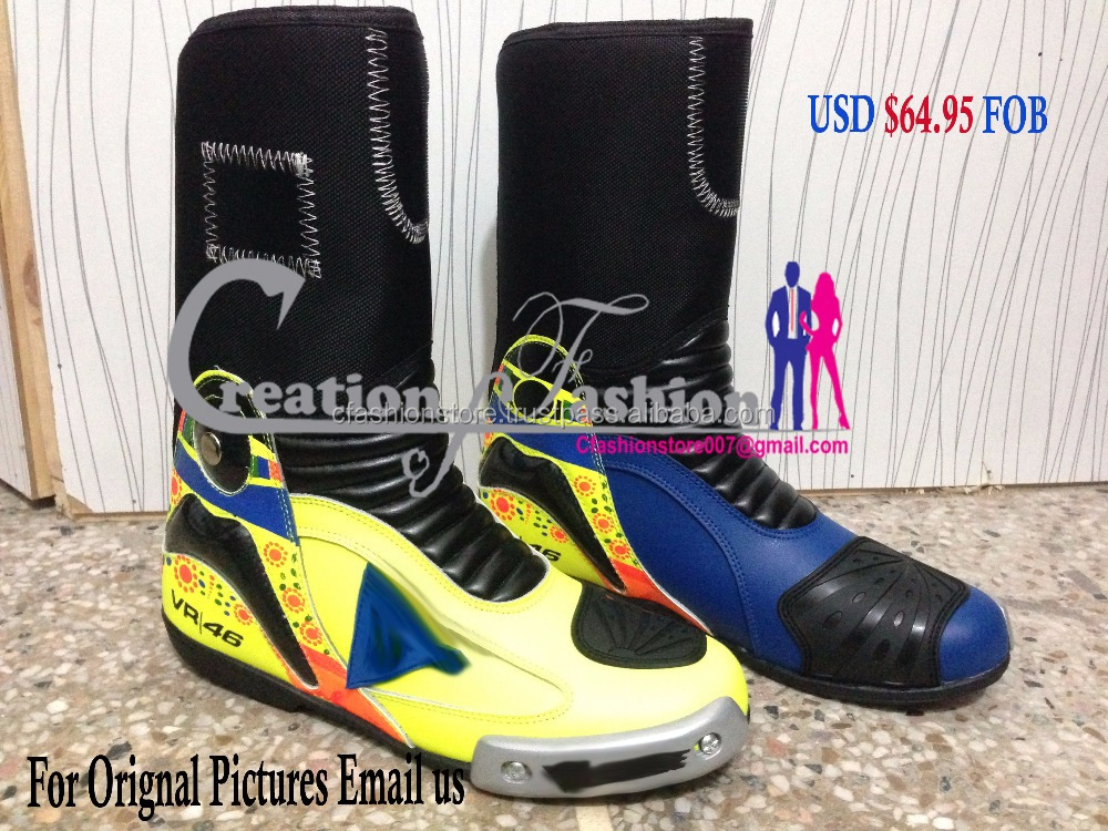 VR46 Motorbike Shoes Motorcycle Racing Leather Boots Custom racing Men Boots All Sizes USD $64.95 FOB Boot