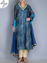 Beautiful! New design Blue Indian Leheriya Gotta Patti Embellished Kurta