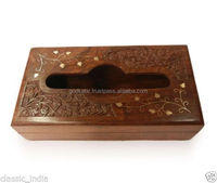 Wooden Hand Carved Brass Napkin Box Handicraft/Fancy High top sale popular in market best royal choice sandal wooden box.