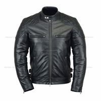 men leather jacket with quilting made of sheep skin