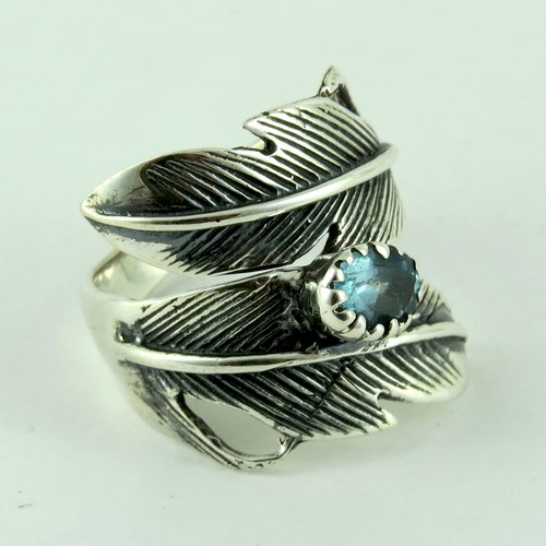 Ocean Breeze !! Blue Topaz 925 Sterling Silver Ring, Christmas Silver Jewelry, Free Size Ring
