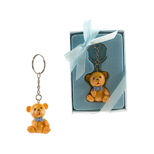 Teddy Bear with Crystal Bow Tie Key Chain - Blue