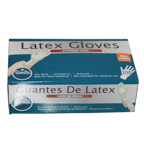 Powder Free Latex Gloves, Small. 100ct