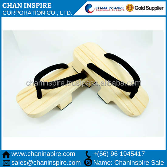 Factory price Wooden Craft from Thailand traditional japanese cosplay geta flip flop footwear ladies and men footwear