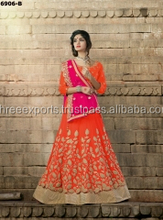 Modest Orange Georgette Gota Lehenga Choli/buy online bridal lehengas