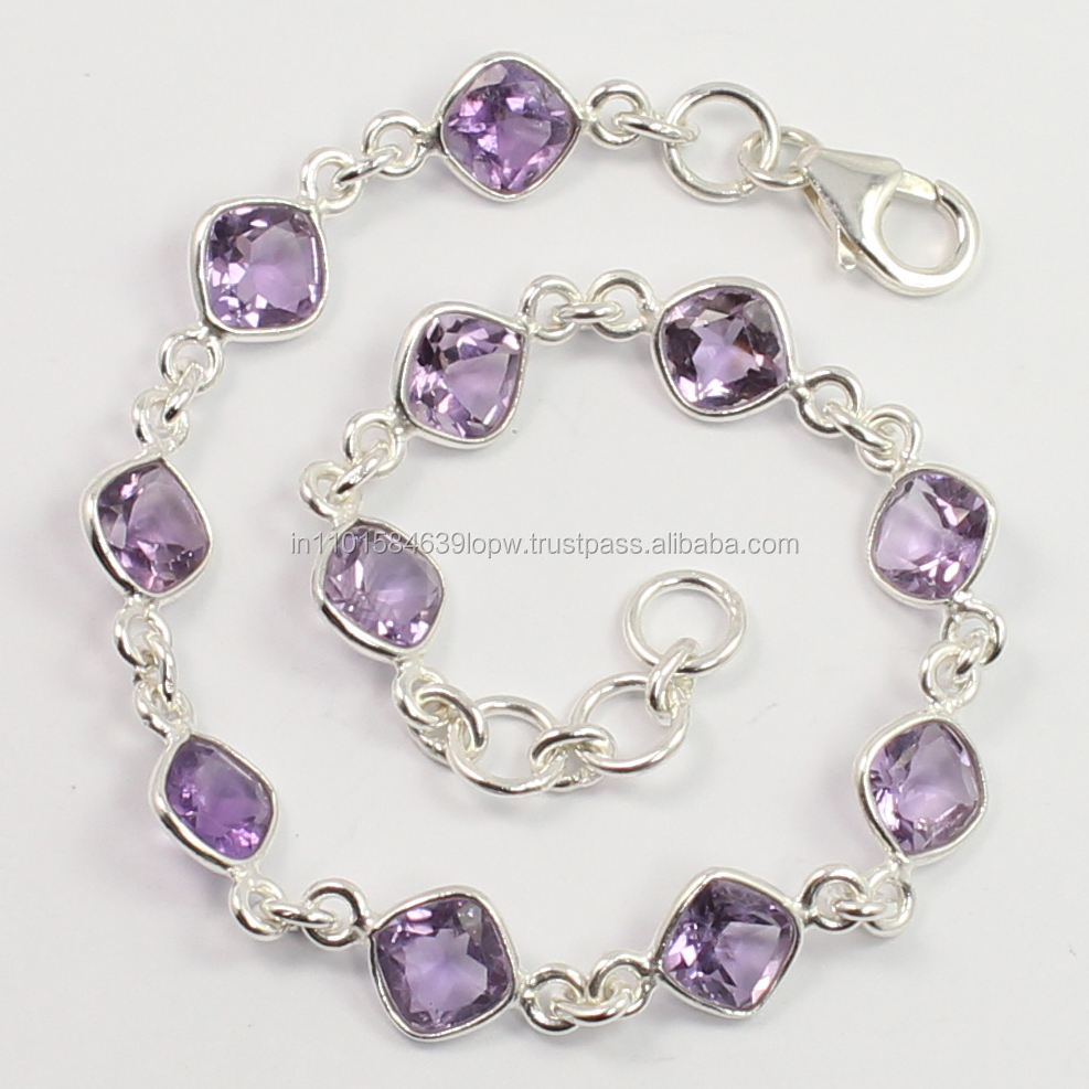 x power bracelet 925 Sterling Silver Natural AMETHYST Gemstones Bracelet Wholeseler