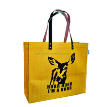 Eco friendly dyed printed fair trade jute bag for shopping with custom logo