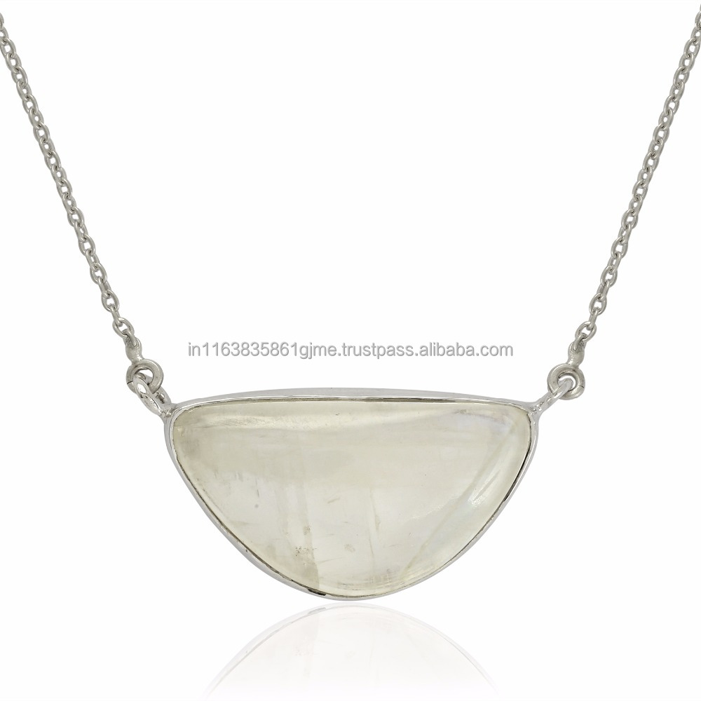 Indian Women Popular Silver Necklace Jewelry With Rainbow Moonstone Gemstone Solid 925 Sterling Wholesaler Silver Necklace