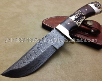 A STAG AND ROSE WOOD HANDLE DAMASCUS HUNTING KNIFE
