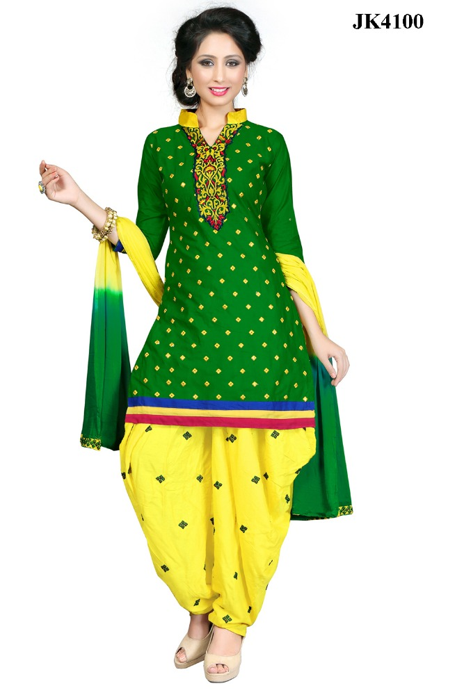Impeccable Green And Yellow Color Festival Wear Mirror Embroidery Work Simple And Sober Un stitched Patiala Suit