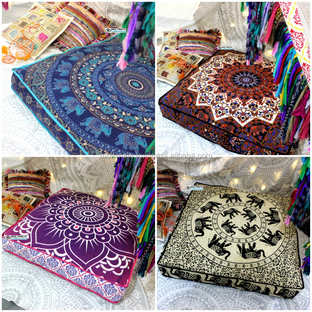 Indian Mandala Floor Pouf Cover Cheapest Cushions Handmade Dog Bed