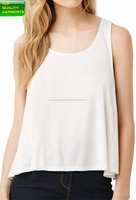 Women ladies girl's sleeveless vest with dropped armhole fit cotton blend sleeve less vest white waved tee shirt OEM #1105221215