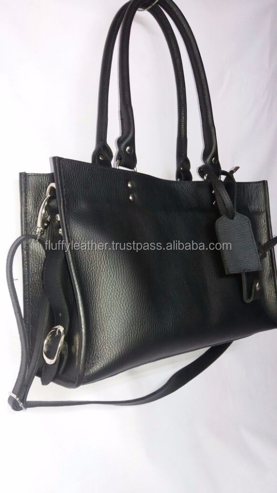 New Ladies Handbag Genuine Black Leather--FL-816