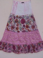 Kids wear knitted fabric printed long skirts / Floral pattern girls dancing wear beautiful dress