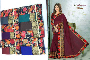 chandery cotton candy border attached embroidery brown saree