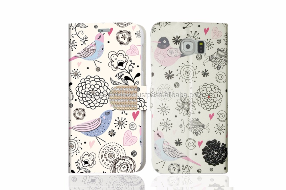 Bling Series Diamond Book Style Phone Case With Card Holder For Samsung S6