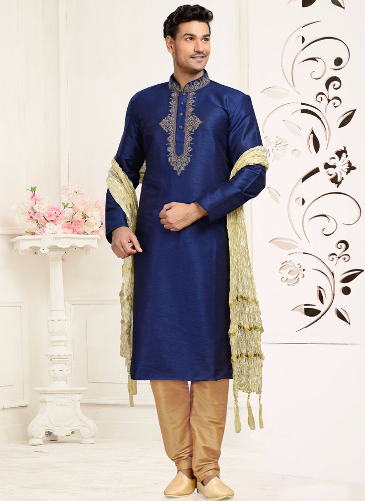 Embroidered blue latest sherwani