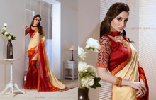 Fab Multi Colour Print Work Georgette Casual Saree/indian dresses online shopping