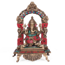 Seated Ganesh Hindu Elephant God Idol Shrine Ganesha Statue Brass Turquoise Inlay Art