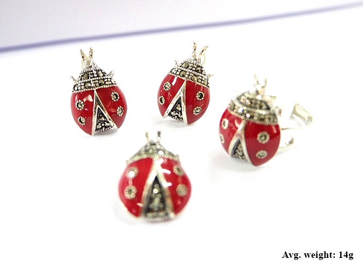 Wholesale jewelry set 925 Sterling silver with Enamel Swiss marcasite stone in Lady bug design