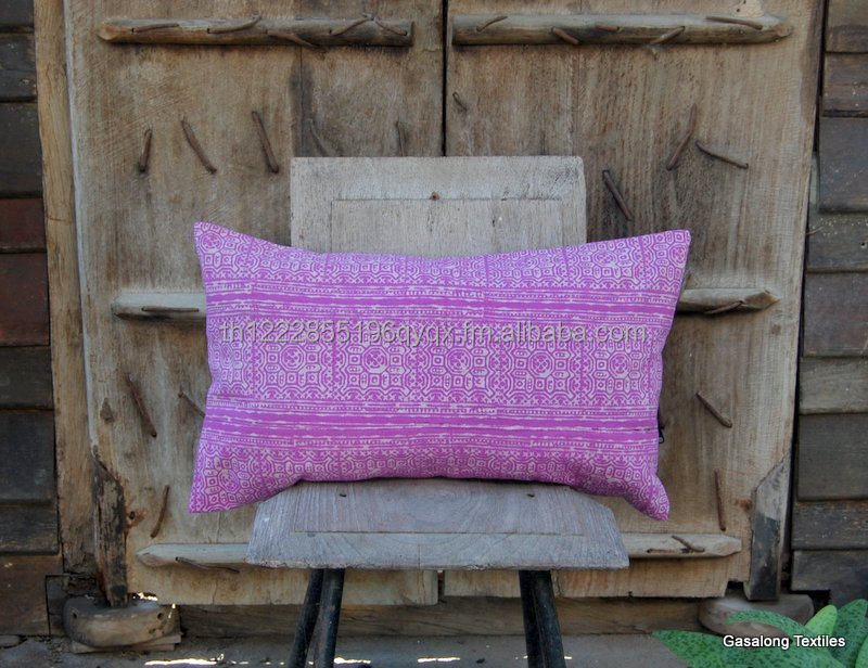 Hand Printed New Hmong Batik Pillow Case - Purple