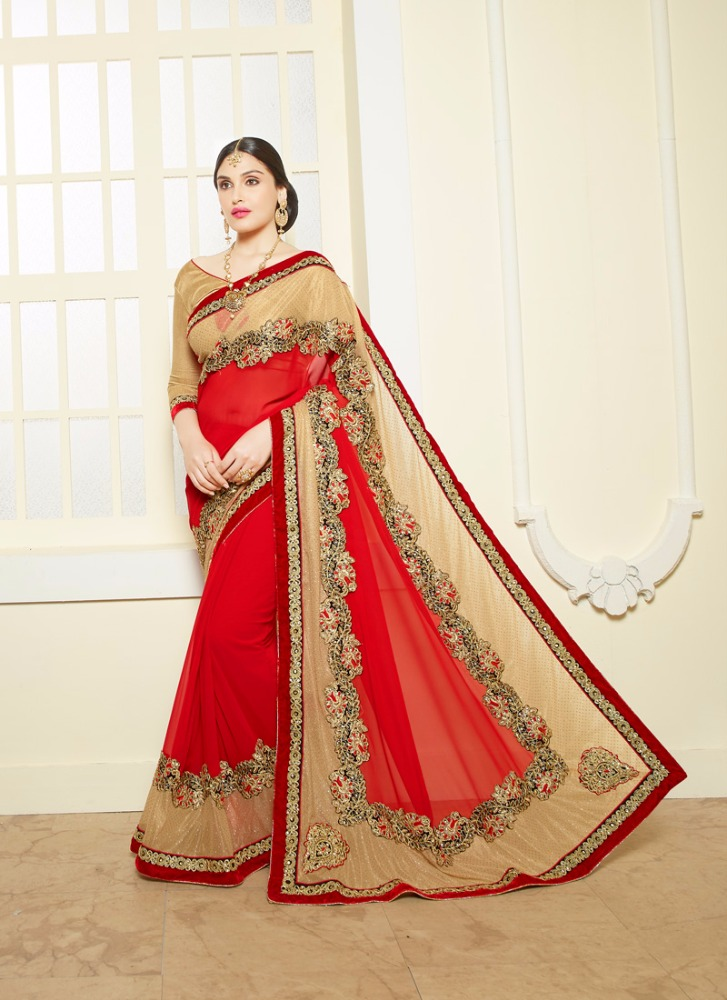 New Red & Cream Bemberg Zari Work Designer Saree