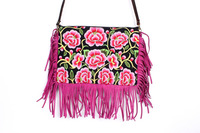 Knockout Cross Body With A Pink Magnolia Embroidered Pattern, Adorned With Pink Leather Tassel