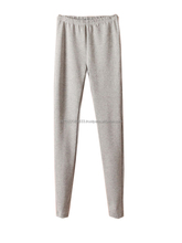 Basic Style Elastic Waist Woman Soft Cotton Light Grey Leggings