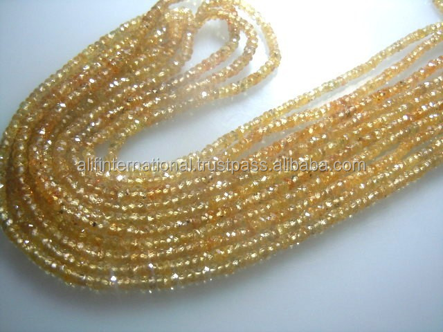 14'' AAA High Quality Of Yellow Sapphire Faceted Roundelle Beads