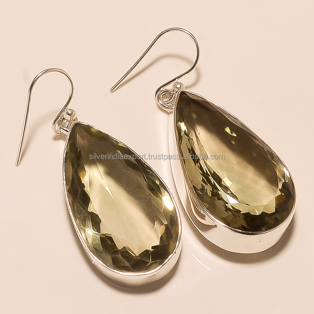 Simpal style green amethyst stone 925 silver earrings