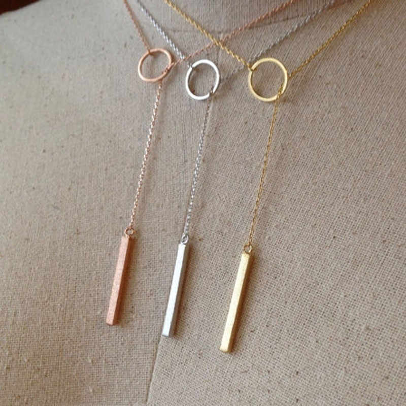 Fashion Dainty Drop Pendant Bar Lariat Necklace 2016