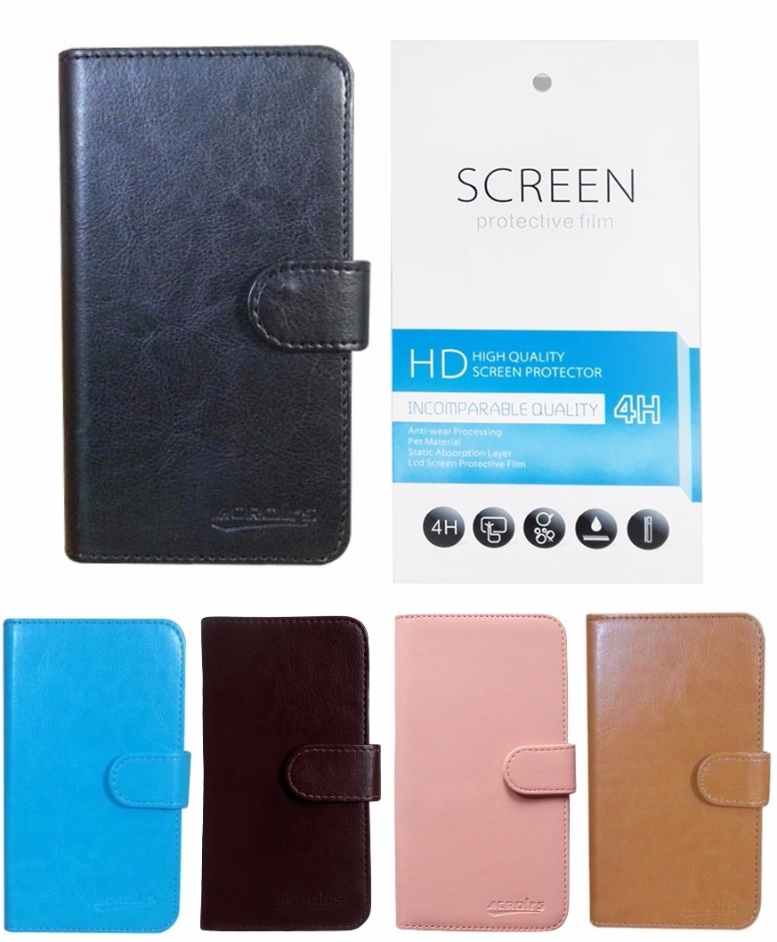 PU Leather Wallet Cover Flip Case for Alcatel OneTouch Pop Up