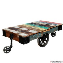 Rustic Reclaimed Wood Rolling Cart Industrial Coffee Table Furniture