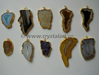 Assorted Natural Banded Agate Electroplated Slices Pendants