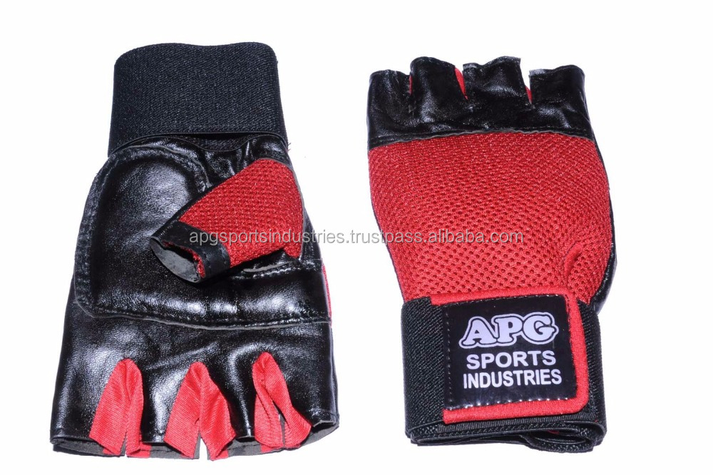 APG Red Leather & Net Gym Gloves / Weight Lifting Gloves