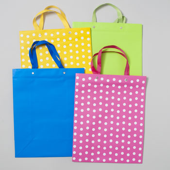 GIFT BAG PAPER LARGE BRITE 12AST W/WHITE DOTS &COORD SOLID