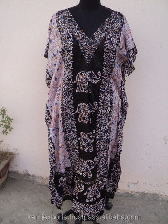 Latest Design Animal Printed pattern Polyester Black Color Ladies wear Kaftan & maxi Dress