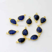 blue sapphire dyed bezel setted gold plated sterling connector findings